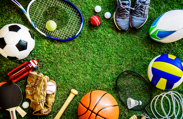 Selection of sports equipment