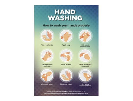 Covid-19 Hand Wash blue green background